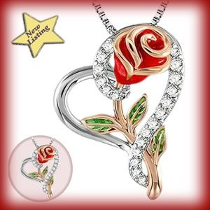 Heart Shaped Pendant with Red Rose Crystal Enamel